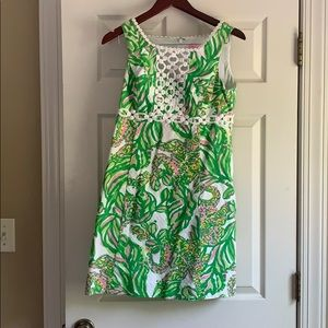 Lilly dress, green and pink pattern